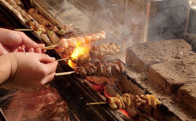 Yakitori (grilled-chicken skewers) found only at a specialised restaurant