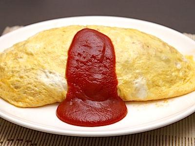 Omuraisu (omelettes stuffed with fried rice)